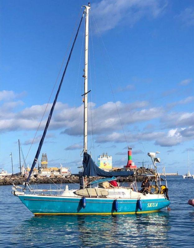 El Skua, el velero de 8,80 metros con el que Ballestero cruzó el Atlántico.