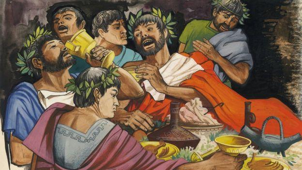 Ricos griegos en banquete