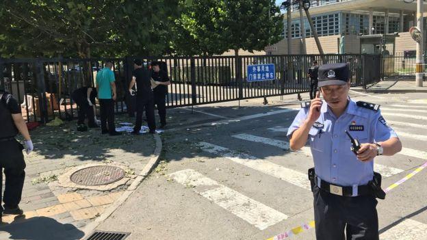 美國駐華大使館爆炸現場(26/7/2018)