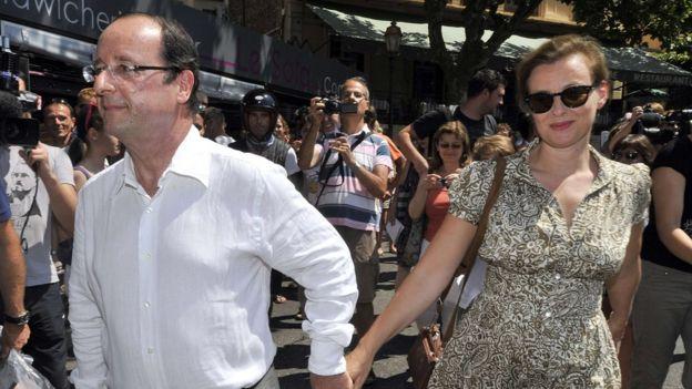 El expresidente Francois Hollande y su pareja Valerie Trierweiler