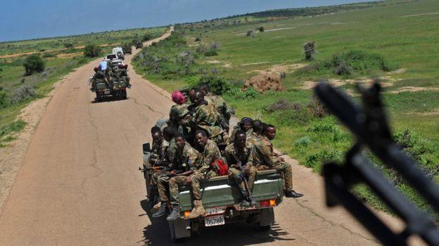 Somali soldiers on a road 450km from Mogadishu, Somalia - Jun 2018