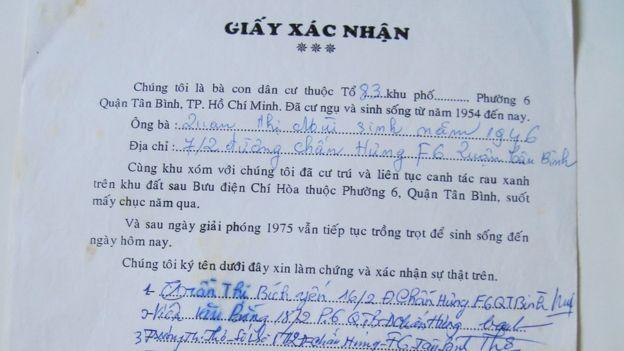 Giấy xác nhận của người dân Lộc Hưng ký năm 2000