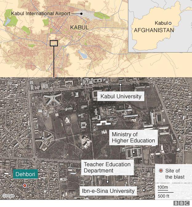 Kabul blast map