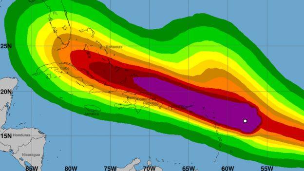 Imagen de la previsión de la trayectoria de Irma