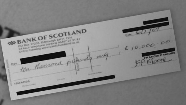 Cheque from Fr Moore