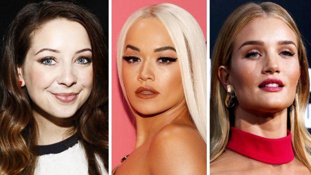Zoe Sugg, Rita Ora y Rosie-Huntington-Whiteley