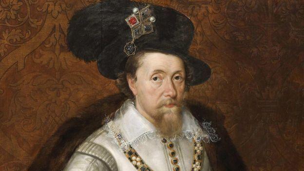Через стосунки короля Якова І (на фото) і герцога Бекінгема досі сперечаються історики