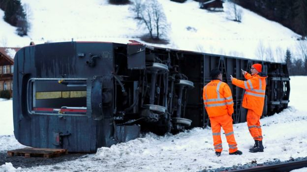 toppled train carriage
