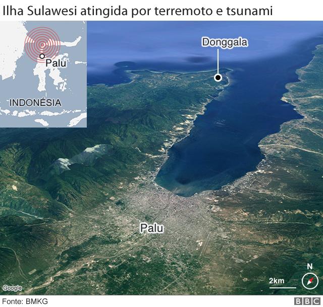 Mapa da área atingida pelo terremoto e tsunami