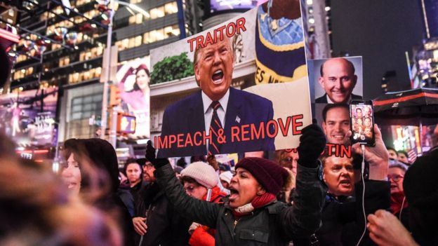 An anti-Trump demonstration in New York on 17 December 2019