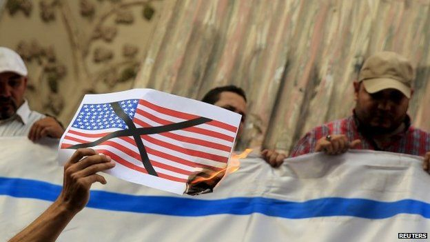 Egyptian activist burns image of US flag