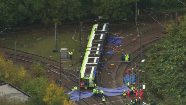 Overturned tram in Croydon
