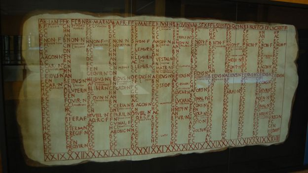 Reproducción del Calendario romano (Fasti Antiates) expuesto en el Museo del Teatro romano de Caesaragusta