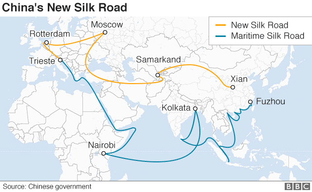 A map shows the overland and sea routes from China to Europe - the overland routes stretches from Xian in China's east, to Samarkand, Moscow, and Rotterdam; the sea route from Fuzhou port to Kolkata in India and Nairobi in Africa before reaching Italy