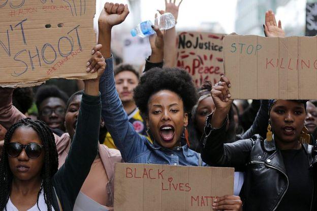 Manifestantes de Black Lives Matter en Londres en julio de 2016.