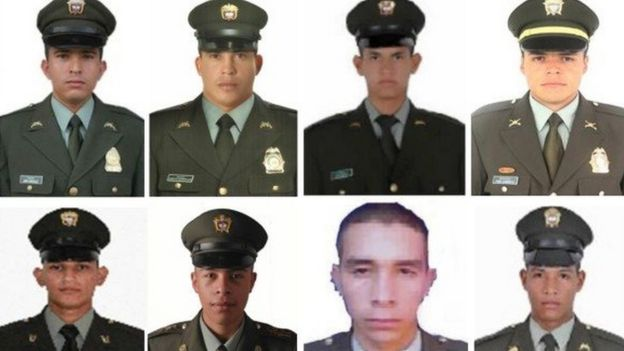 Photo of the eight police officers killed
