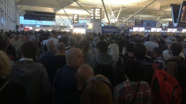 Queues at Stansted Airport