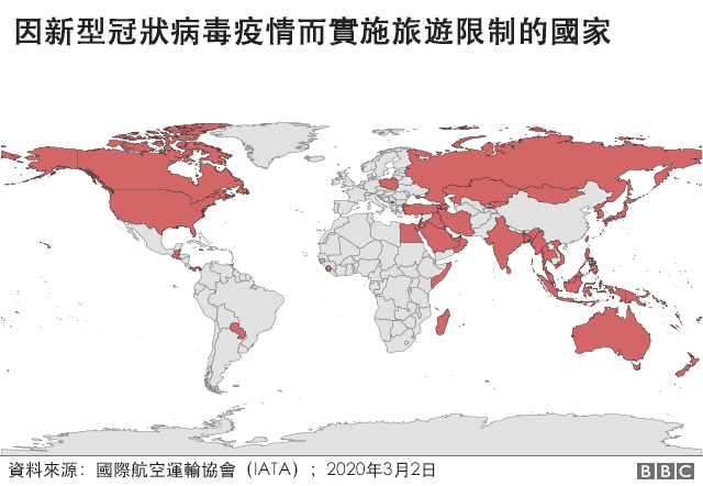 圖表:因新型冠狀病毒疫情而實施旅遊限制的國家