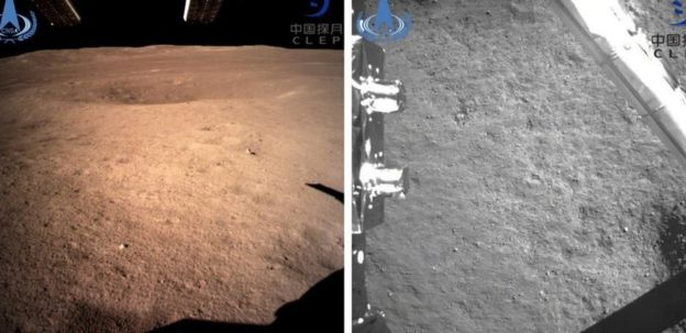 Images of the surface of the moon released by the China National Space Administration