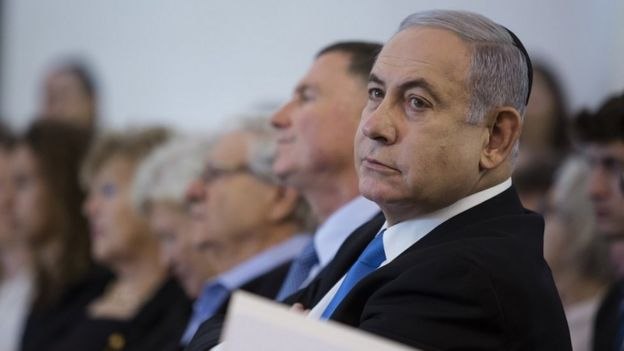 Israeli Prime Minister Benjamin Netanyahu attends a Memorial Ceremony for Meir Shamgar, Former President of the Supreme Court, on October 22, 2019 in Jerusalem