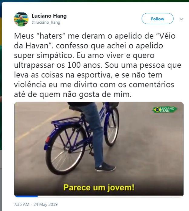 """Post na página de Luciano Hang sobre o apelido """"Véio da Havan"""""""