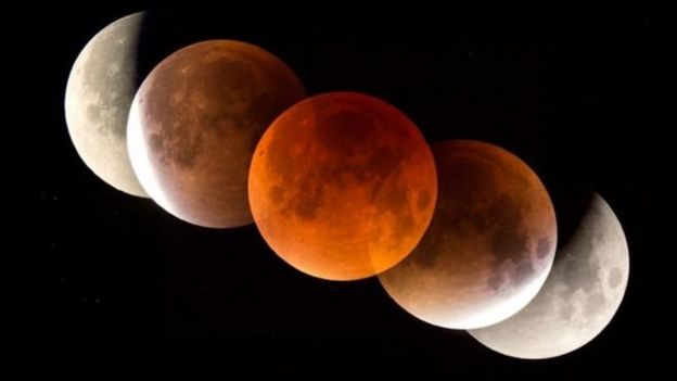 Fases del eclipse total luna y la Superluna de sangre.