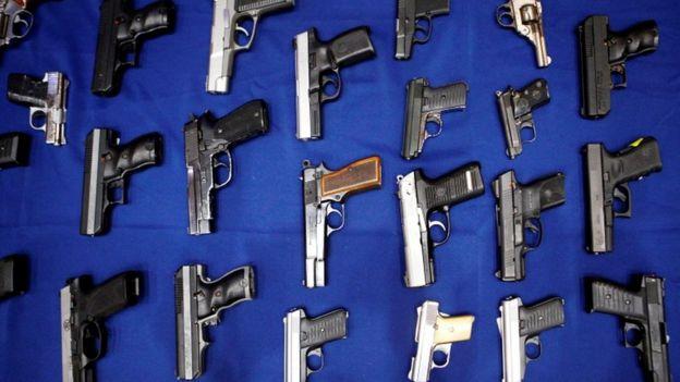 Seized handguns, file image
