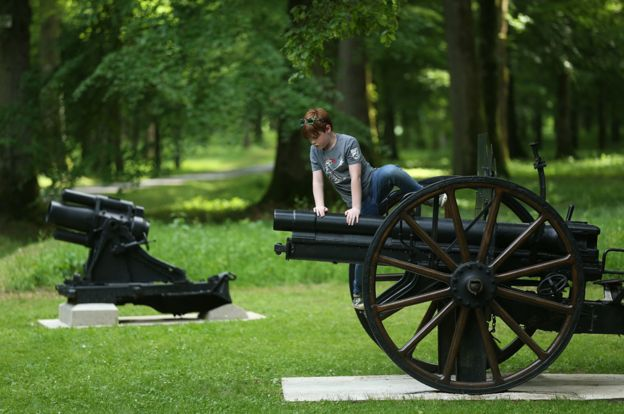 Boy climbs on cannon on 100th anniversary at Belleau Wood
