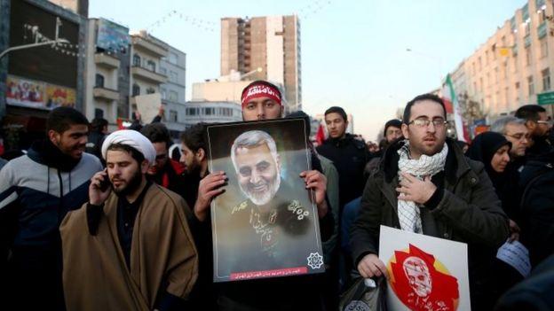 Mourners at funeral of Qasem Soleimani in Tehran (06/01/20)
