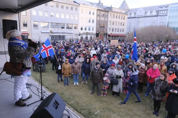 1 December 2018 protest in Iceland, photo by Mbl.is/Kristinn Magnusson