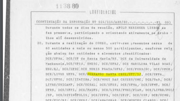 Arquivo do regime militar com o nome de Fernando Santa Cruz