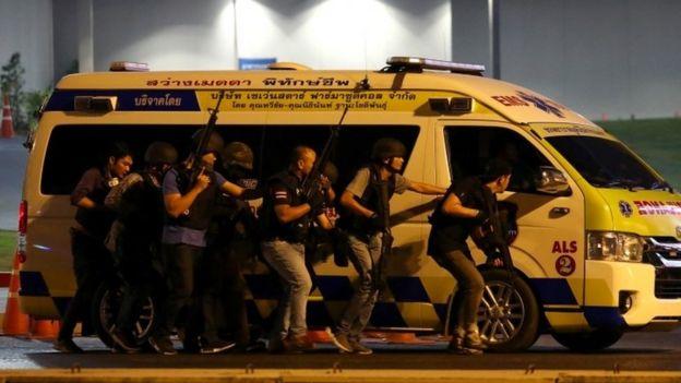 پلیس تایلند در صحنه حمله