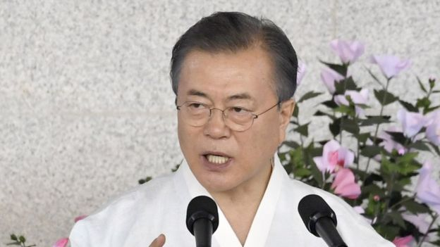 South Korea President Moon Jae-in vowed to unite the Korean peninsula by 2045