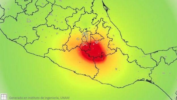 Mapa de intensidad del sismo