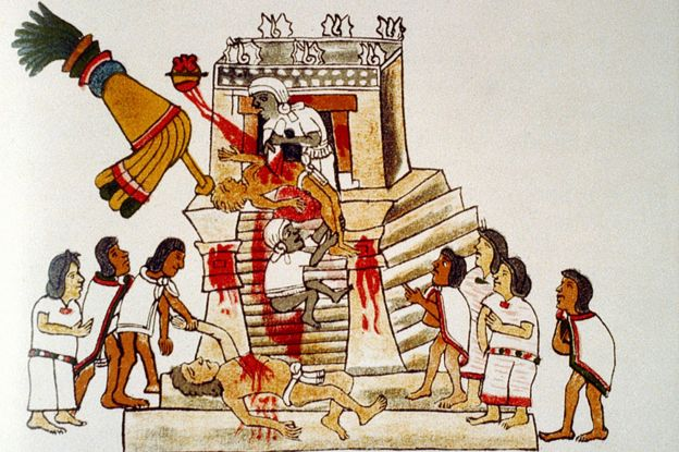 Sacerdote azteca que realiza la ofrenda sacrificial del corazón de un humano vivo al dios de la guerra Huitzilopochtli. Codex Magliabechi Siglo XVI, azteca.
