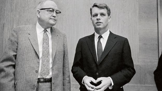 Senator James O Eastland (left) and former attorney general Robert Kennedy