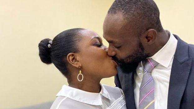 Yinka and Ademola Adeleke kiss