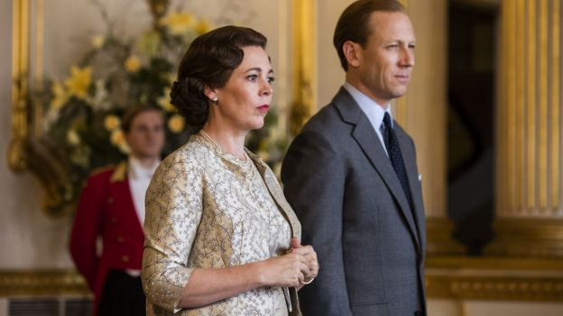 Olivia Colman and Tobias Menzies in The Crown