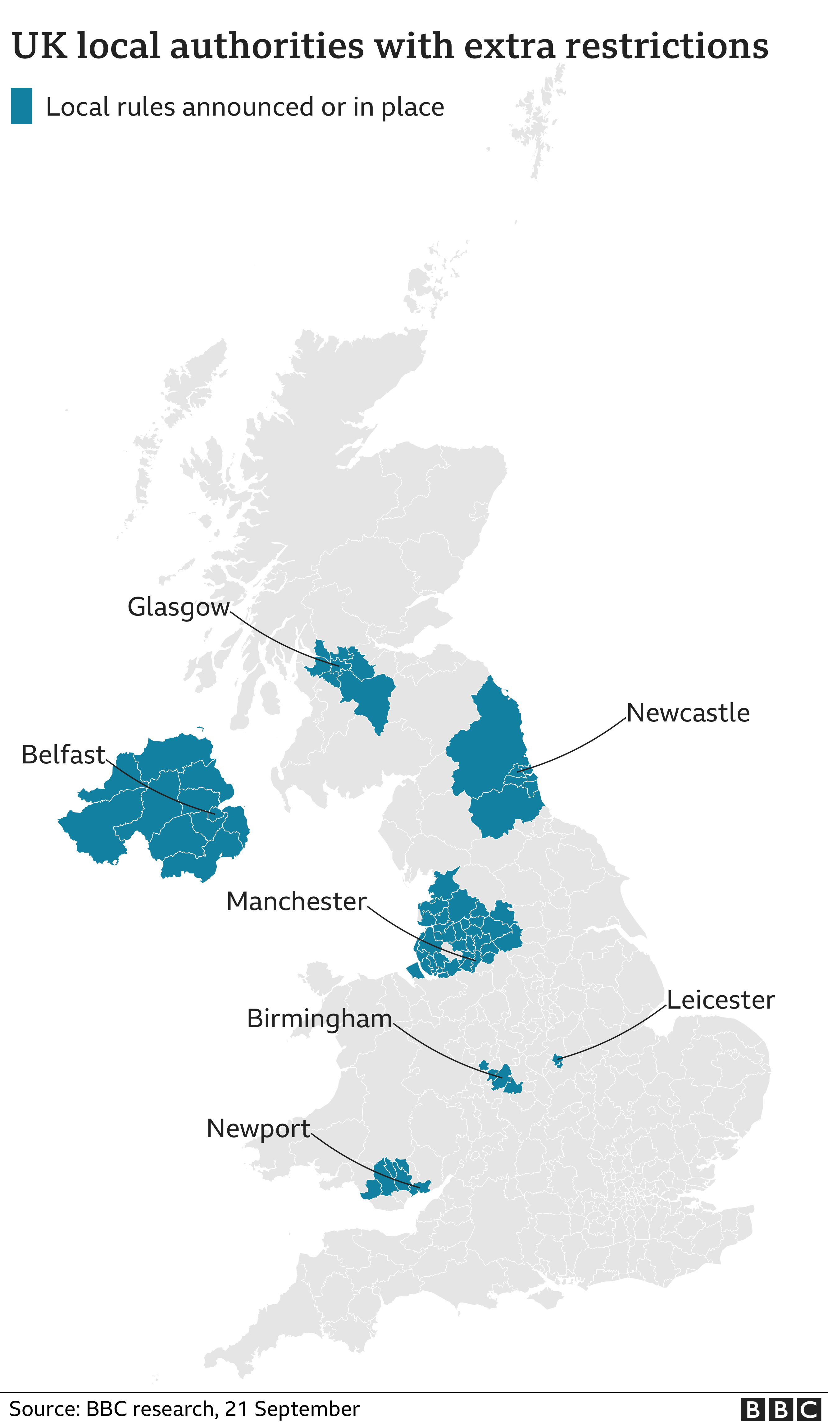 UK map shows restrictions extended to all of N Ireland, updated 21 Sep