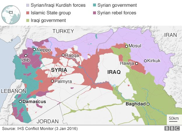 Is conflict iraqi forces launch offensive near syria border bbc news map showing control of syria and iraq 3 january 2017 gumiabroncs Gallery