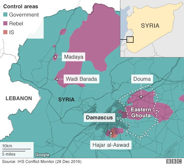 Map showing who controls the north west of Syria - 28 December 2016