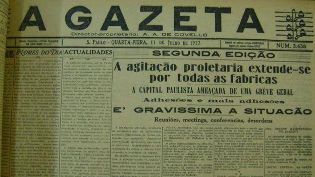 Jornal A Gazeta de 11 de julho de 1917