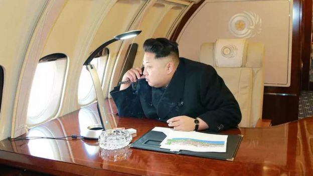 Kim Jong-un inspects Pyongyang from the air in 2015