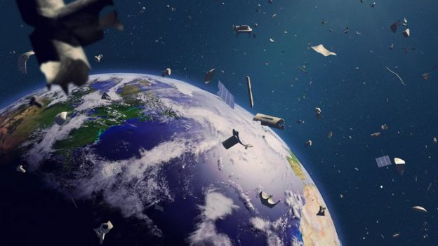 Garbage that revolves around the Earth.  (Illustration)