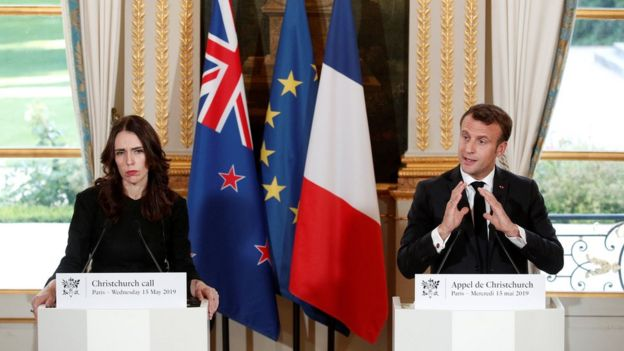 Yeni Zelanda Başbakanı Jacinda Ardern ve Fransa Cumhurbaşkanı Emmanuel Macron
