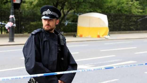 A police officer at the scene in Russell Square