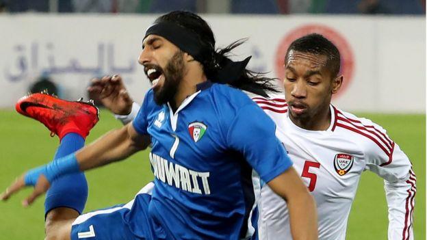 جانب من مباراة الكويت والإمارات