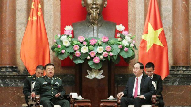 Chủ tịch nước Trần Đại Quang tiếp Phó Chủ tịch Quân ủy Trung ương Trung Quốc, Tướng Phạm Trường Long tại Hà Nội.