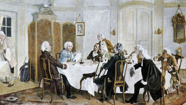 Kant con sus comensales hacia 1788 (Emil Doerstling, 1892).