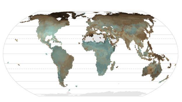 Mapa de distribución de los colores de los huevos de las aves, que muestra huevos de colores marrones más oscuros en las regiones más frías